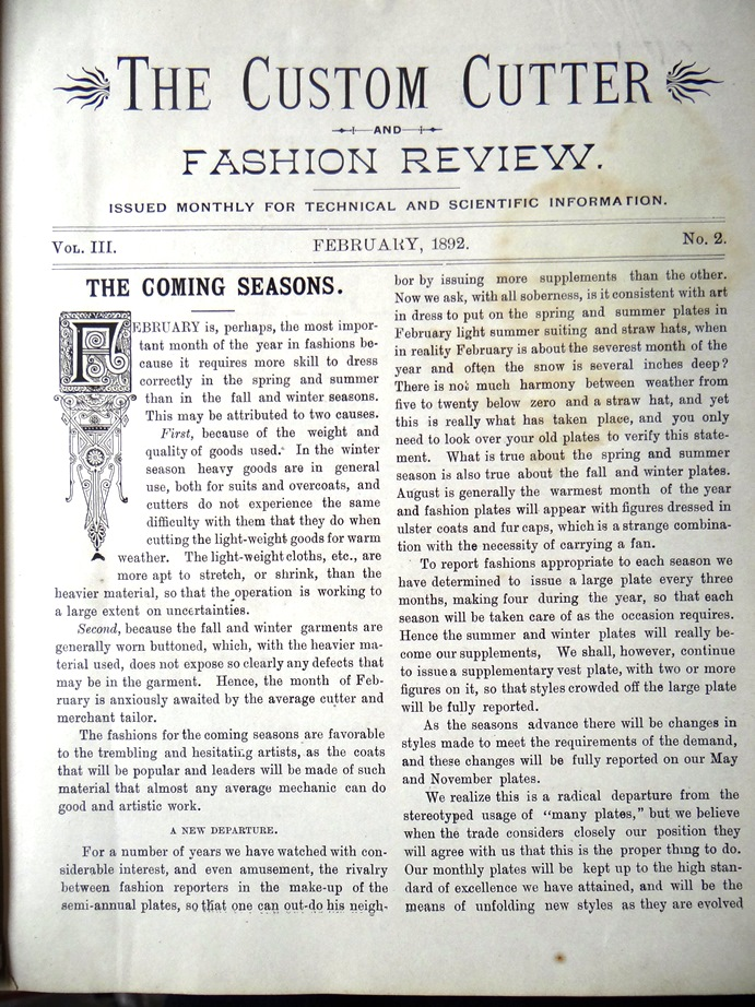 - The Custom Cutter and Fashion Review. Issued Monthly for Technical and Scientific Information. (Vol III No 2 to No 7 and No 9 to No 12, Bound Together)