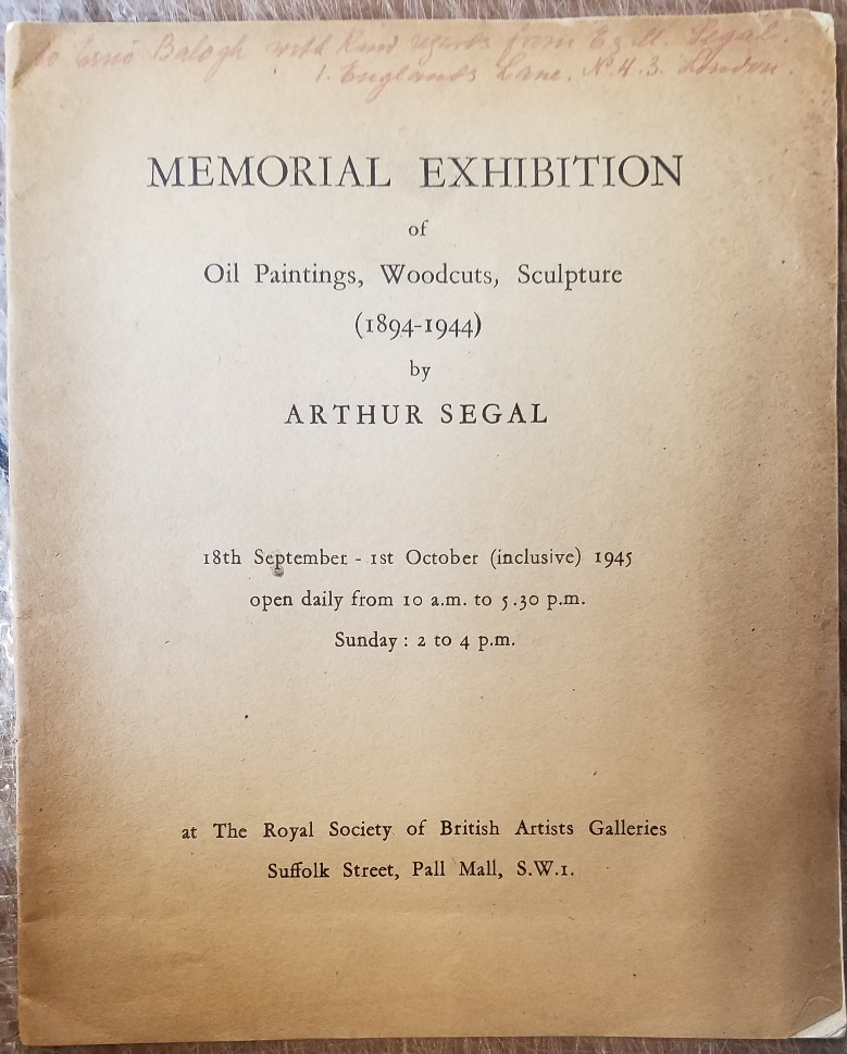 - Memorial Exhibition of Oil Paintings, Woodcuts, Sculpture (1894-1944) by Arthur Segal