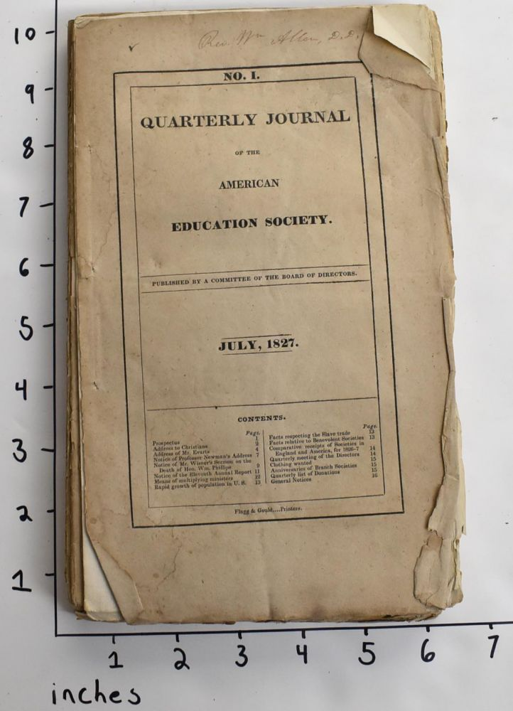 Quarterly Journal of the American Education Society [Nos. I-VIII].
