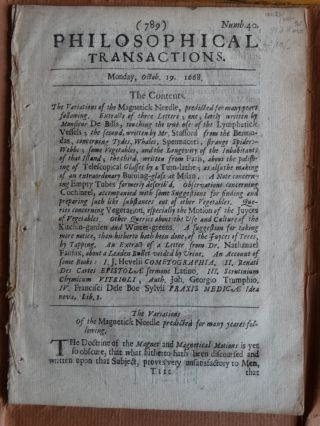 Philosophical Transactions, No. 40, Monday October 19, 1668 (The Variations of the Magnetick Needle
