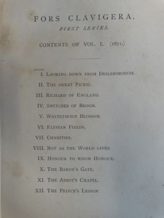 Fors Clavigera. Letters to the Workmen and Labourers of Great Britain (8 volumes) + Ariadne Florentina in similar binding