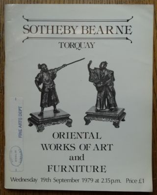 Catalogue of Oriental Works of Art, Including Bronzes, Ivories and Furniture For Sale by Auction