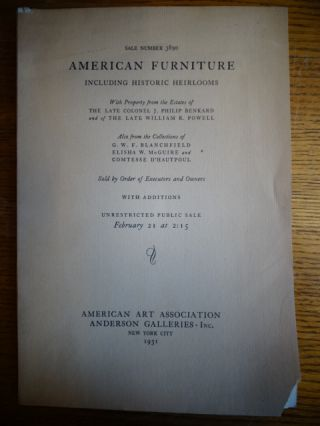 American Furniture Including Historic Heirlooms, with Property from the Estates of T he Late...