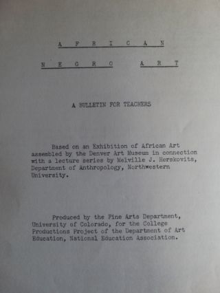African Negro Art: A Bulletin for Teachers