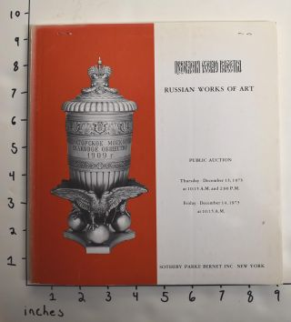 Russian Works of Art, including silver, enamel, icons [public auction, December 1973]