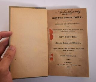 Stimpson's Boston Directory; Containing the Names of the Inhabitants, Their Occupations, Places...