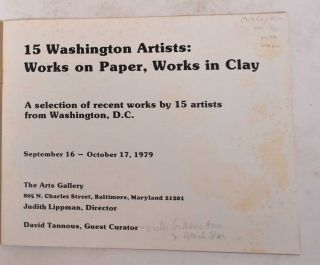 15 Washington Artists: Works on Paper, Works in Clay