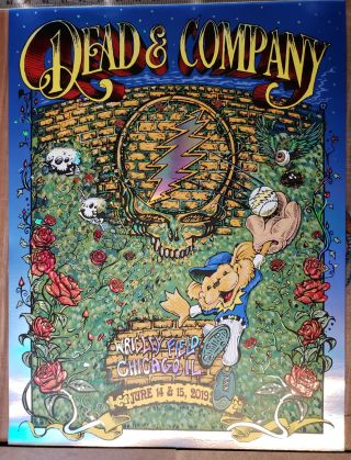 Dead and Company - 2019 - Tour Poster - Wrigley Field Foil. A. J. and Dubois Masthay