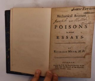 Mechanical Account of Poisons in Several Essays. Richard Mead