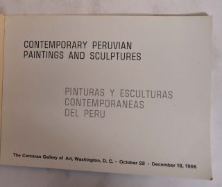 Contemporary Peruvian Paintings and Sculptures. Corcoran Gallery of Art