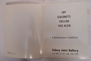 Arp, Giacometti, Chillida, Yves Klein: A Mediterranean Installation, Sidney Janis Gallery, 110...