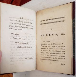 A Speech Never Intended To be Spoken, In Answer To A Speech intended To Have Been Spoken On The Bill For Altering The Charter of The Colony of Massachusetts Bay, Dedicated to The Right Reverend The Lord Bishop of St. A---
