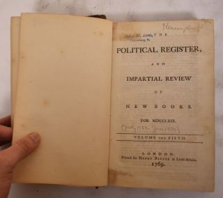 The Political Register and Impartial Review of New Books for MDCCLXIX (1769) Volume 5 (July to...