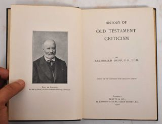 History of Old Testament criticism. Archibald Duff