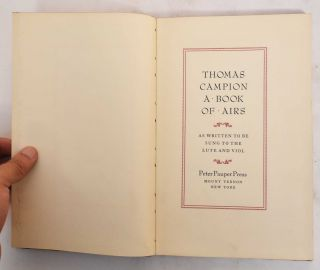 A Book of Airs: As Written to be Sung to the Lute and Viol. Thomas Campion