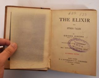The Elixir and Other Tales. Georg Ebers