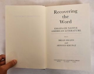 Recovering the word : Essays on native American literature